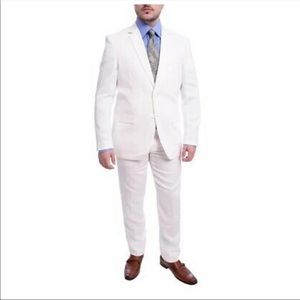 Gino Vitale Slim Fit Solid White Two Button  Suit